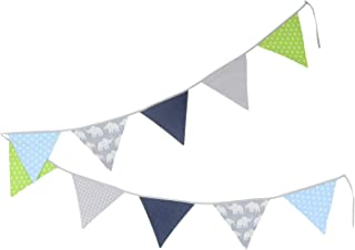 100% Cotton Fabric Bunting Flag Garland Pennant Banner by ULLENBOOM | Elephant/Star/Checkered | Baby Shower/Party/Nursery | 11 Ft - Boys Blue and Green