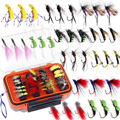 Fly Fishing Flies Kit, 36/78Pcs Fly Fishing Lures, Fly Fishing Dry Flies Wet Flies Assortment Kit with Waterproof Fly Box for Trout Fishing