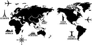 ملصق حائط على شكل خريطة العالم، ملصق حائط DELFINO 60 * 90 سم، ديكور لغرفة النوم باللونين الأبيض والأسود، 160 جم، ملصق إبدا...