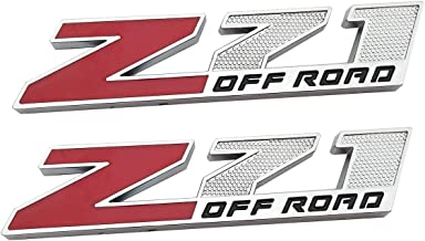 2Pcs Z71 OFF Road Decals Emblems Badge 3D Replacement for GMC Chevy Silverado 1500 2500HD Sierra Suburban Colorado(Small size) (Chrome red)
