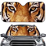 Showudesigns Car Windshield Sunshade Tiger Eyes Print Sun Shade Auto Folding Accordion Sun Visor Protector Cover for Car Front Window Sunvisor Universal Fit