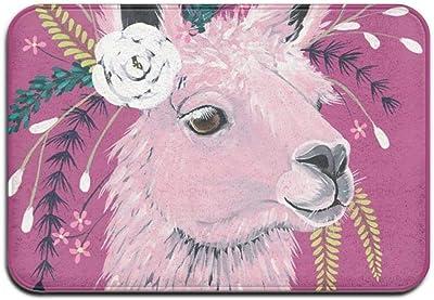 Llama with Flower Door Mat Bathroom Rug (40cmX60cm,15.7X23.6IN),191206d223 Llama with Flower,One Size