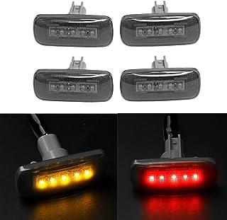 4PCS 5Led Dual Cab Bed Fender LED Side Marker Lights For 2010-2017 Dodge Ram 2500 3500 (2x Amber, 2x Red)