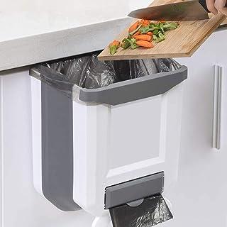 Kitchen Bin,Rubbish Bin Plastic Folding Wall Mounted for Cupboard Door Hanging Trash Can 8L (White)