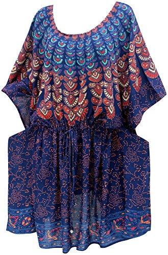 LA LEELA Robes de Plage Grande Taille Tunique Pull Femme Cordon de serrage Kimono Bohême Mode Rayonne Bikini Cover Up Blouse Maillot De Bain Caftan Sarong Pareo Été Chemisier Haut Top Beachwear Swimsu