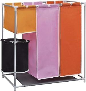 Cadre en X Repliable pour Salle de Lavage Chambre ou Salon HRRH Panier /à Linge 3 Sections Panier /à Linge s/épar/é avec Sacs Oxford imperm/éables en Aluminium
