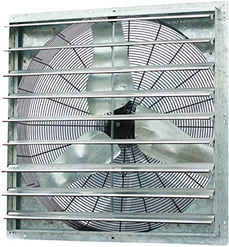 """Iliving - 36"""" Wall Mounted Shutter Exhaust Fan - Automatic Shutter - Single Speed - Vent Fan For Home Attic, Shed, or Garage Ventilation, 6128 CFM, 9000 SQF Coverage Area, Silver (ILG8SF36S)"""
