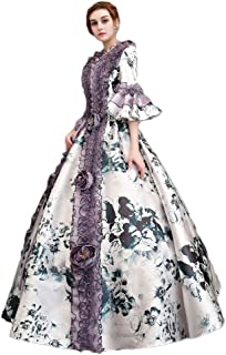 Women's Southern Belle Costume Flare Printed Victorian Fancy Dress