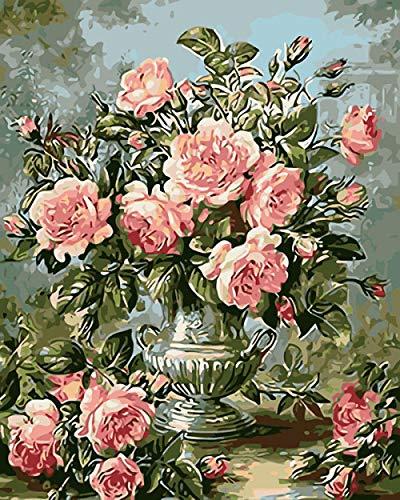 Renqiancun Olieverfschilderij voor volwassenen en kinderen, design vaas roze linnen met 3 borstels decoratie voor thuis geschenken 16 x 20 inch Frameless