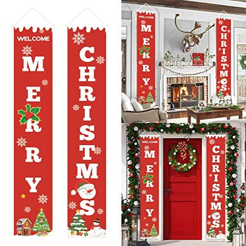 SICHOWEL Merry Christmas Door Banners,Porch Decorations Door Banner, Christmas Holiday Decorations Indoor Outdoor