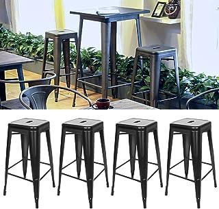 Tabouret de Bar Industrielle Lot de 4, Tabouret Haut 76cm Metal et Bois 150 KG, Ne Besoin d'installer (Noir, 4)