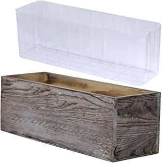 1 Pcs Wood Planter Box Rectangle Whitewashed Wooden Rectangular Planter with Inner Plastic Box - 11.5
