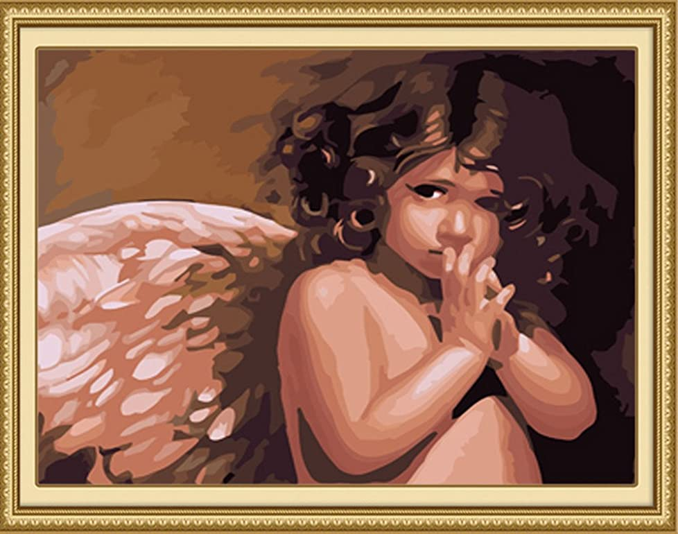 Diy Oil Painting Paint by Number Kit for Adults Beginner 16x20 inch - Little Angel Baby, Drawing with Brushes Christmas Decor Decorations Gifts (Without Frame) sicyrk997147422