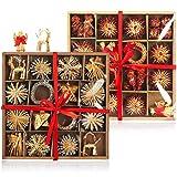 com-four Adornos de árbol de Navidad de 112 Piezas - Decoraciones para árboles de Navidad Hechas de Paja - Estrellas de Paja en Varios diseños