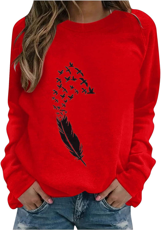 wlczzyn Womens Graphic Sweatshirt Casual Crew Neck Sweatshirt Long Sleeve Fashion Printed Shirt Lightweight Loose Tops