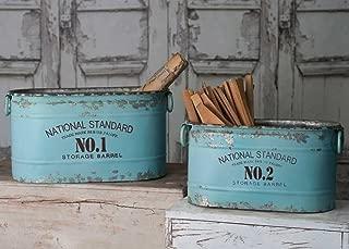 Classic Galvanized Canners National Standard Bucket Storage Barrel Set of 2