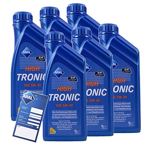 6x 1 L Liter ARAL HighTronic 5W-40 Motoröl inkl. Ölwechselanhänger