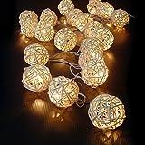 GEEDIAR 20 Rattan Ball Lichterkette String Lights Batteriebetrieben für Hochzeit Geburtstag Party...