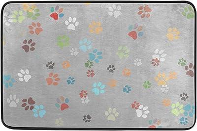 MASSIKOA Cat Dog Colorful Paws Footprints Non Slip Backing Entrance Doormat Floor Mat Rug Indoor Outdoor Front Door Bathroom Mats, 23.6 x 15.7 inches