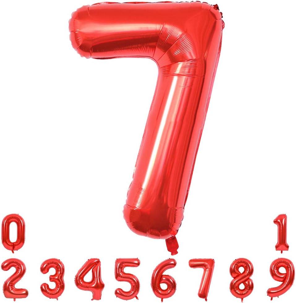 Foil Globo Rojo N/úmero Num/érico 0 a 9 40 Pulgadas Gigante Numeros 0 Grande Globos Para La Boda Aniversario Globo de Cumplea/ños Fiesta Decoraci/ón