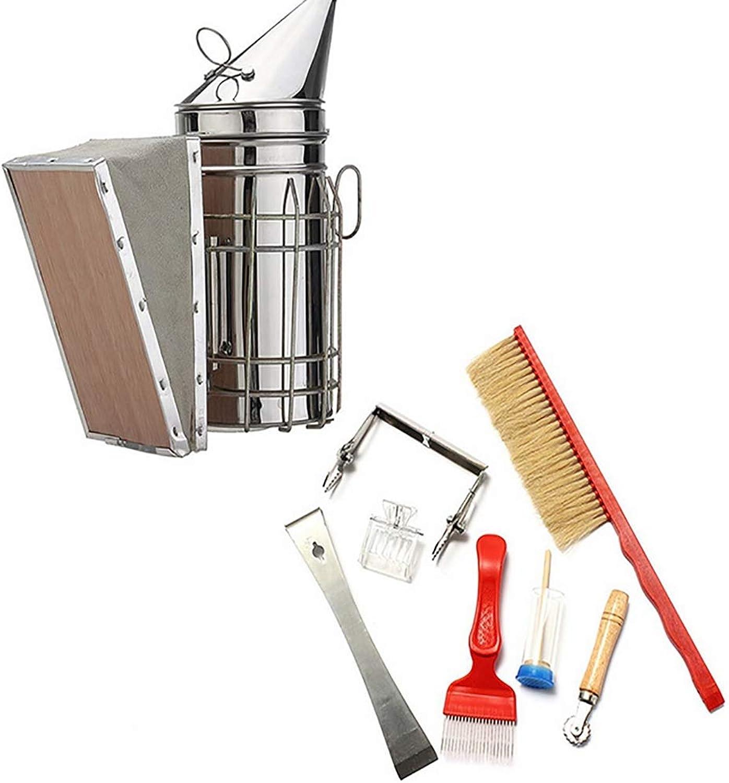 Beekeeping Tool Kit Set of 8Beekeeping Accessory Starter Tool Stainless Steel Bee Hive Smoker, Brush etc