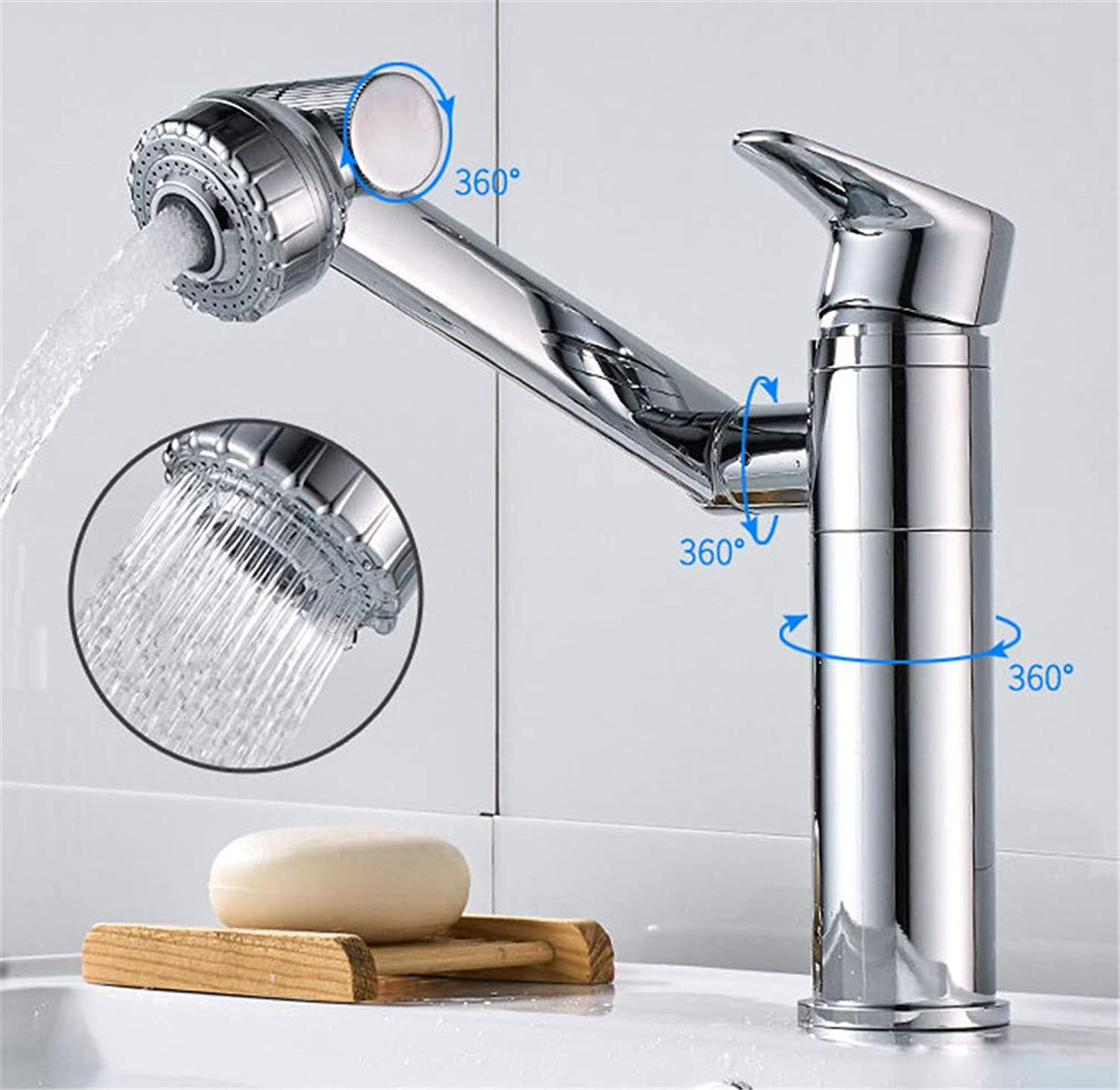 LHY BATHLEADER Dual Mode Effluent Basin Sink Tap, Hot and Cold Water Adjustment Single Hole Copper 1080° redating Washbasin Basin Faucet for Bathroom Kitchen,200mmhigh