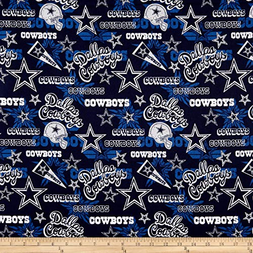 NFL Cotton Broadcloth Dallas Cowboys Retro Blue Fabric by The Yard