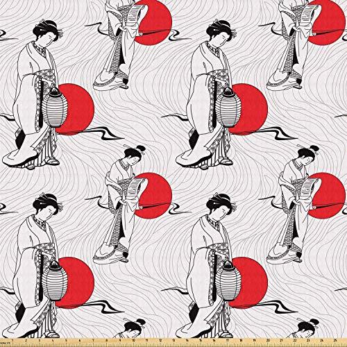 daoyiqi Juego de pegatinas decorativas para azulejos, diseño de mujer geisha en kimono con fondo ondulado abstracto de 10,16 x 10,16 cm, adhesivo para suelo de baldosas de vinilo, 12 unidades