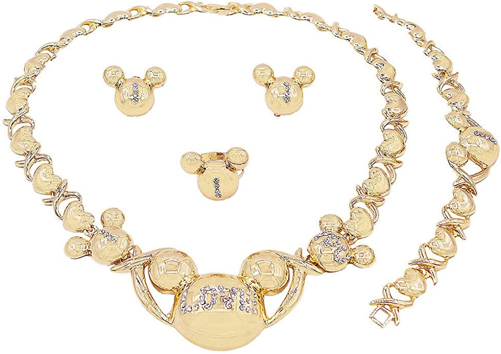 Women's Girl's Hugs & Kisses XOXO 4 Pieces Necklace Set Includes Necklace Bracelet Ring Earrings Layered Real Gold Plated #75