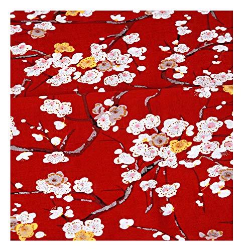 Tela de Bronceado de Estilo japonés Rojo, Tela de Ropa Hecha a Mano de Bricolaje, Flor de Ciruelo-1