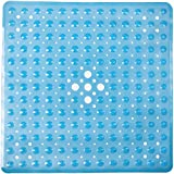 FeschDesign (Sale Ends 31/3) Shower Mat Non Slip | Non-Toxic (BPA-Free) & Anti-Bacterial | Bath Tub Mat with Original GripTight (TM) Technology & Powerful Suction Cups | 21' x 21', Clear Blue