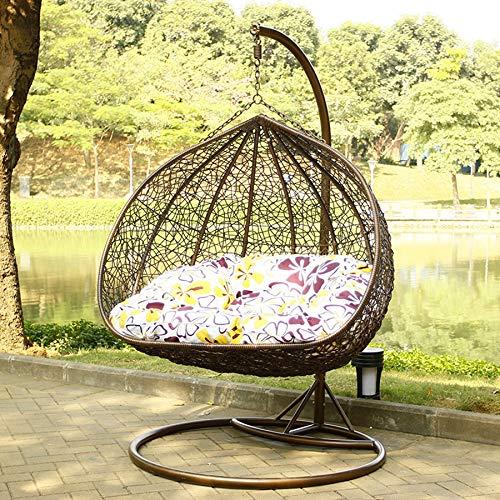 LEJZH Hangstoel voor eieren, rotan schommelstoel, inclusief kussens, buiten- en binnentuin terrasmeubelen