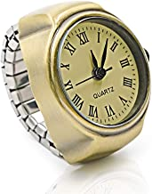 Vintage Ring Watch - DreamsEden Round Fashion Roman Numerals Finger Watch with Gift Box and Greeting Card