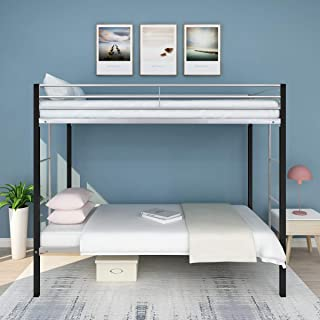 Metal Bunk Bed Frame Twin Over Twin Heavy Duty with Safety Full Guard Rails Ladder Space Saving Design Quick to Assemble in Under an Hour Black Silver