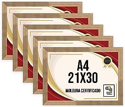 Kit 5 Porta Certificados 21x30 Moldura A4 para Certificado Foto Parede Natural Tingido