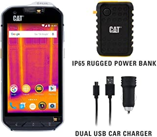 CAT S60 Single SIM Rugged Waterproof Unlocked Smartphone with Integrated FLIR Thermal Imaging Camera- North American Variant Bundle with 10000mAh Power Bank & Dual USB Car Charger