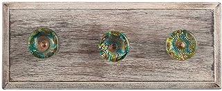 Indianshelf Lot de 1 patère en bois vintage fait à la main avec plumes de paon multicolores
