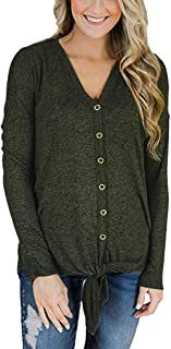 Tie Knot Tops Womens Waffle Knit V Neck Blouse Button Down Long Sleeve Henley Shirt