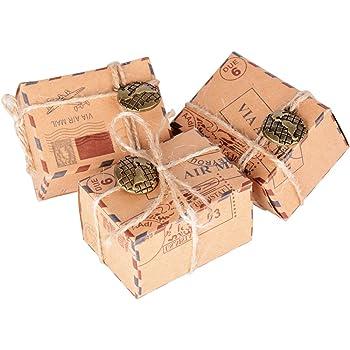 50 Pcs Cajas de Papel Kraft de Caramelo Dulces Bautizo Bombones Regalos Recuerdos Detalles para Invitados de Boda Fiesta Comunion Graduación Decoración Favor Boda: Amazon.es: Hogar