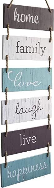 Excello Global Products Large Hanging Wall Sign Rustic Wooden Decor Home Family Love Laugh Live Happiness Hanging Wood Wall Decoration 11 75 X 32