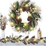 Valery Madelyn 45cm Pre-Lit Corona de Navidad Grande, Dorado 20 Luces LED con 8 Modos, Base de Ratán Natural, Adornos de Piña y Bellota, Decoración de Navidad para Hogar, Ventana, Puerta, Pared