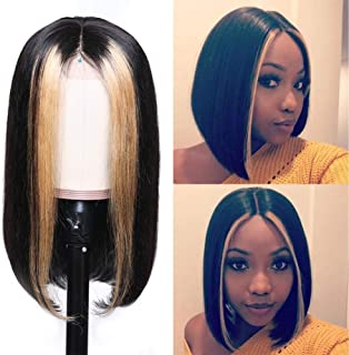 LONGQI Highlight Blonde Pre Colored Straight Lace Front Human Hair Wig, 13x4 150% Density Brazilian Remy Silky Straight Hair, Ombre Color Pre Plucked Wig for Black Women (10 Inch)