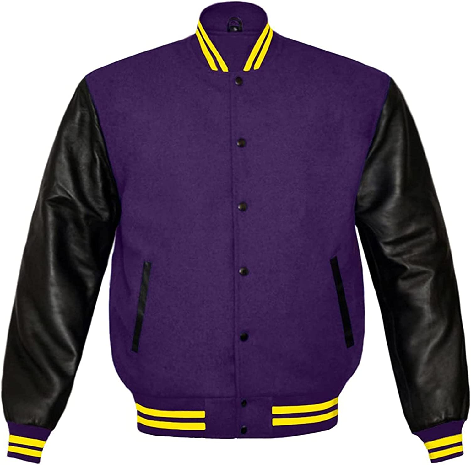 Varsity Letterman Jackets Real Wool and Genuine Leather Sleeves University Sports Baseball Bomber Quilted Jacket