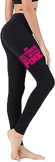 Interstate Apparel Junior's in October We Wear Pink V390 Black Athletic Workout Leggings