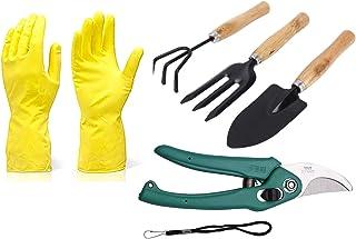 Novel Gardening Tools - Reusable Rubber Gloves 01 Set, Flower Cutter/Scissor & Garden Tool Wooden Handle (3pcs-Hand Cultiv...
