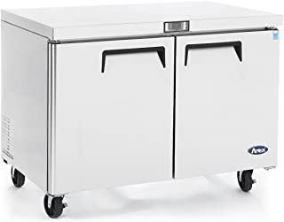 Commercial Undercounter Freezer,ATOSA Commercial Large Beverage Cooler Freezer Fridge Center MGF8407 Double 2 Doors Stainless Steel Horizontal Refrigerators17.9 Cu.Ft.60W30D36.6H inch-10℉-0℉