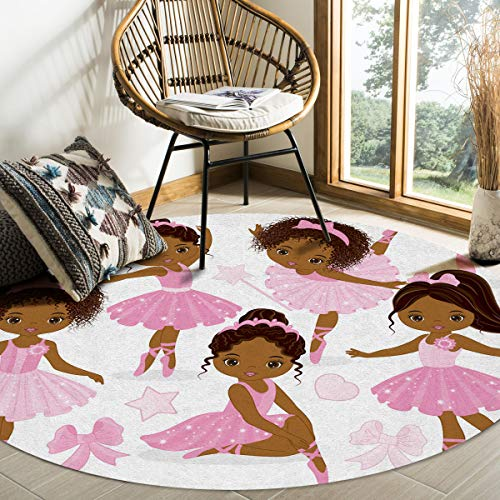 ALAGO Round Area Rugs Pink Ballet Cute Girl Ballerina Dancer Skirt Gymnastic Soft Carpets Indoors/Living Dining/Bedroom/Study Children Playroom Crawl Rug Floor Mats Woman Yoga Mat 4 ft Diameter