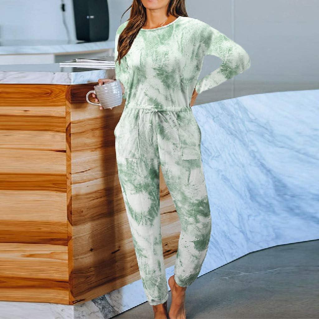 Hessimy Women Tie Dye Sweatsuit,Women Tie Dye Pajama Sets Long Sleeve Tops and Pants PJ Sets Joggers Loungewear Sleepwear