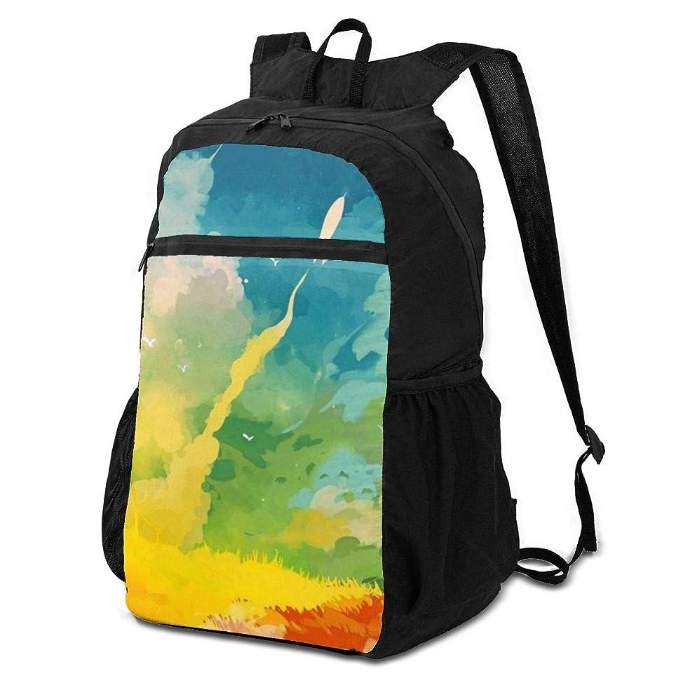 ジョージハンブリーほめる青写真登山リュック ザック カラフルな抽象芸術 バックパック 軽量 防水 通勤 小型旅行 折りたたみ式キャンプ アウトドアバッグ