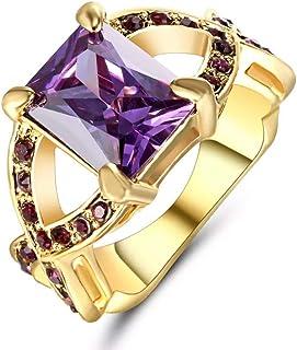 خاتم ذهبي للنساء مرصع بأحجار كريمة جمشت الجمال US 6